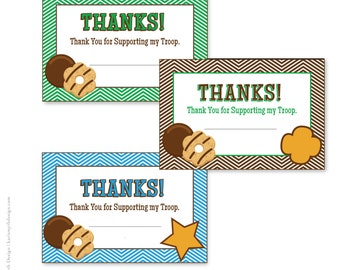 Cookie Fundraiser Green Chevron Thank You Notecards: Perfect for school or scout cookie sales. Available in 3 colors. Printable Download