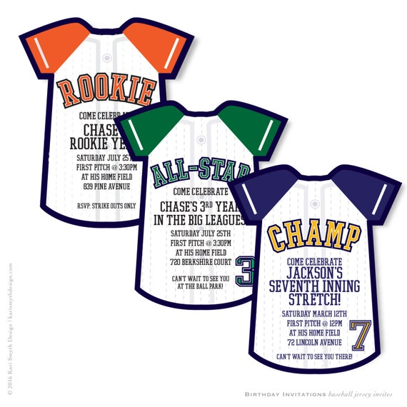 Little Sluggers Birthday Baseball Jersey Birthday Party Invitation Personalized Printable Customize To Your Team S Colors