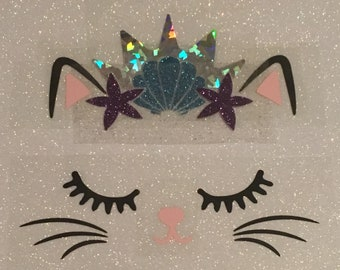 Backpack Jacket Accessory Kawaii Mermaid Kitty Cat Iron On Applique Girls Teen Embroidered Kitten Novelty Badge Flair Purrmaid Patch