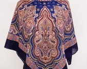 Russian Authentic Original Pavlovo Posad Shawl, Scarf 100 Wool no fringe