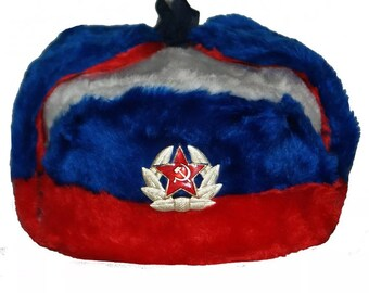 c6fadeca128 Russian Soviet Soldier Winter Army Hat Ushanka Tricolour With Soviet Badge Military  Army Soldier