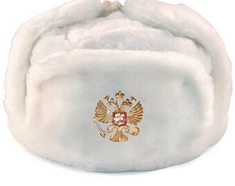 35582566aa032 White Russian Soviet Soldier Winter Army Hat Ushanka With Soviet Badge