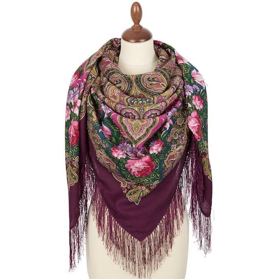 Original Pavlovo Posad russian shawl 100/% dense wool silk Free shipping 1539-18