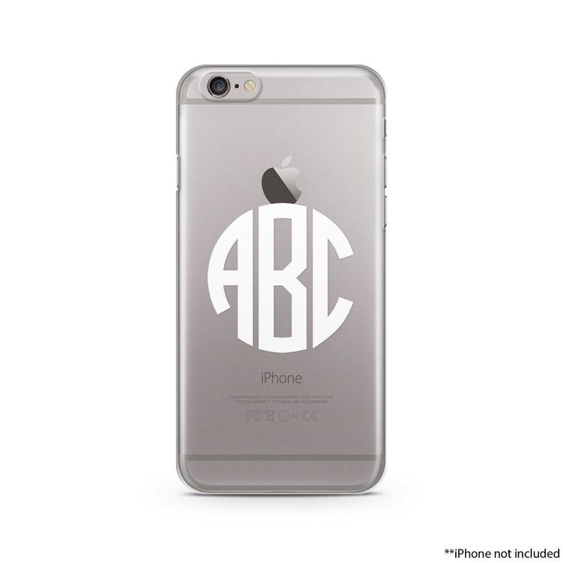 hot sale online cf6a8 f4358 Circle White Monogram iPhone Case, iPhone SE case, iPhone 6s Case, iPhone  6s Plus case, iPhone 7 case, Clear Phone Case