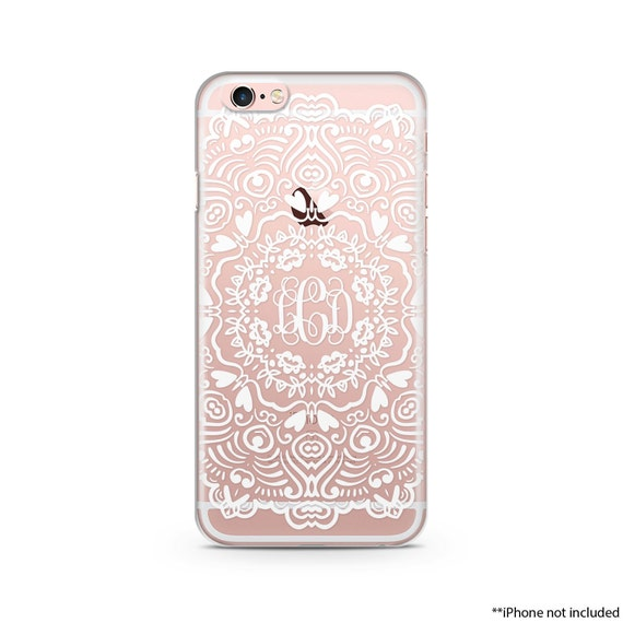 new arrival 27321 97a19 White Henna iPhone Case Monogram Mandala iPhone case, iPhone 6 plus clear  case Transparent iPhone Case 002