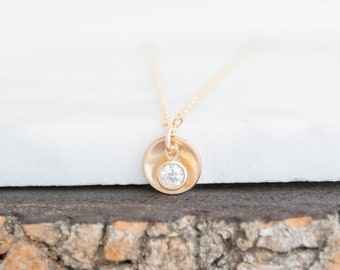 Stamped Personalized Domed Disc Hidden Initial Necklace, Disc Charm Necklace, Hand Stamped Domed Disc Necklace / Gold Filled