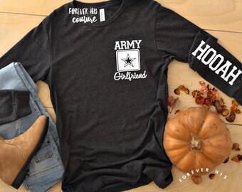 fc699270 Army girlfriend Hooah unisex long sleeve Army Wife Army Mom Army GF shirt  deployment Homecoming shirt Military shirt Deployment