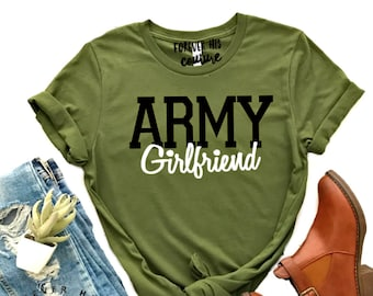 06f35d3472fa Army Girlfriend-Army Wife Military Wife Homecoming shirt Army Mom Army  sister bootcamp Military shirt Deployment Milso Free USPS shipping
