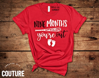 81b59f78 Pregnancy baseball shirt expecting shirt-nine months & you're out- baseball pregnancy  shirt Gender reveal coming soon shirt-Unisex Tshirt