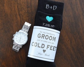 Groom Embroidered Wedding Dress Socks | In Case You Get Cold Feet | Gifts from Bride to Groom | Wedding Gifts | Socks | Includes Label