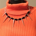 Spike Necklace, Spike Choker, Goth Jewelry, Silver Jewelry, Silver Necklace, Silver Choker, Silver Spike Jewelry, Fashion Jewelry,