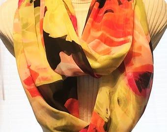 Infinity Scarves, Circle Scarves, Eternity Scarves, Colorful Scarves, J'NING Accessories, Yellow Scarves, Orange Scarves, Black Scarves