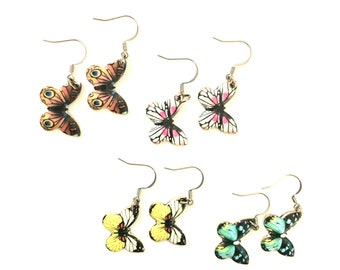 Butterfly Earrings, Aqua Earrings, Yellow Earrings, Pink Earrings, J'NING Jewelry, Novelty Earrings, Nature Earrings,