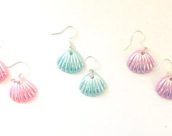 Sea Shell Earrings, Clam Shell Earrings, Novelty Earrings, Pink Earrings, Purple Earrings, Blue Earrings, Aqua Earrings, J'NING Jewelry