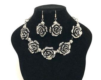 Silver Necklace Sets, Statement Jewelry, Statement Necklaces, Rose Flower Necklace, J'NING Jewelry, Party Jewelry,