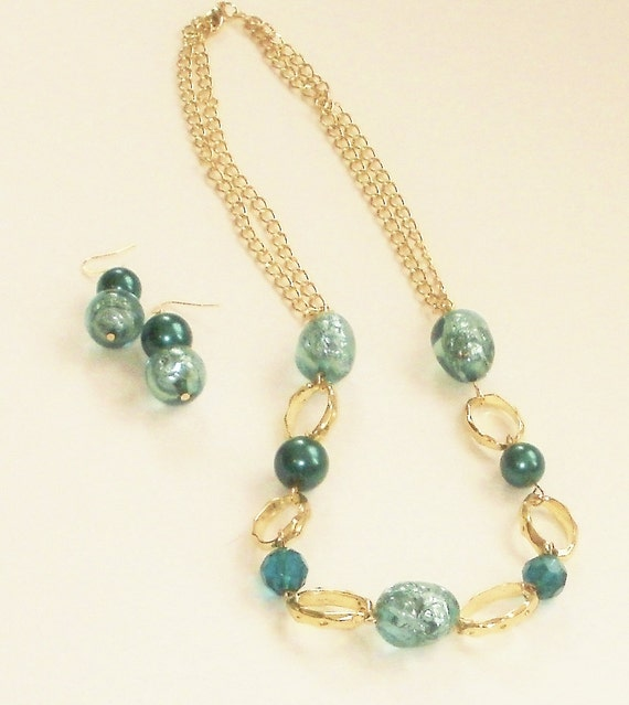 J/'NING Jewelry Gold Necklaces J/'NING Accessories Statement Necklaces Aqua Jewelry Green Necklaces Aqua Necklaces Green Jewelry