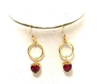 Red Earrings, Ruby Earrings, Heart Earrings, J'NING Jewelry, Red Heart Earrings, Ruby Heart Earrings, Red Dangle Earrings, Birthstone