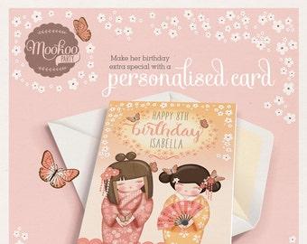 Personalised birthday card Kokeshi Doll Printable - personalized