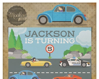 Cars Motor Vehicles Printable Party Invitations