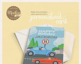 Personalised birthday card CARS Theme Printable - personalized