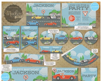 Cars Retro Party Printable Party Package
