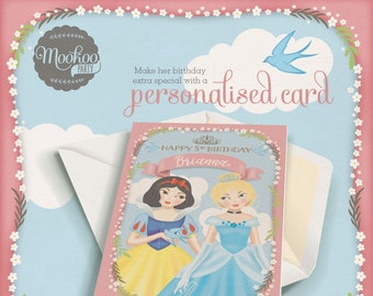 Personalised birthday card Princess Theme Printable - personalized