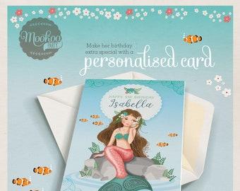 Personalised birthday card Mermaid Printable - personalized