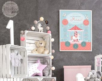First Birthday Poster Printable - Carousel Pony design