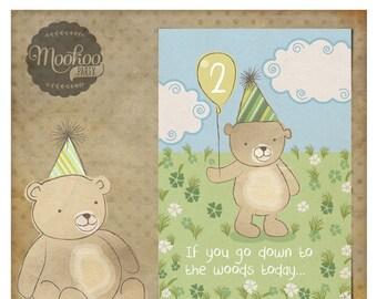 Teddy Bear Picnic Blue Printable Party Invitations