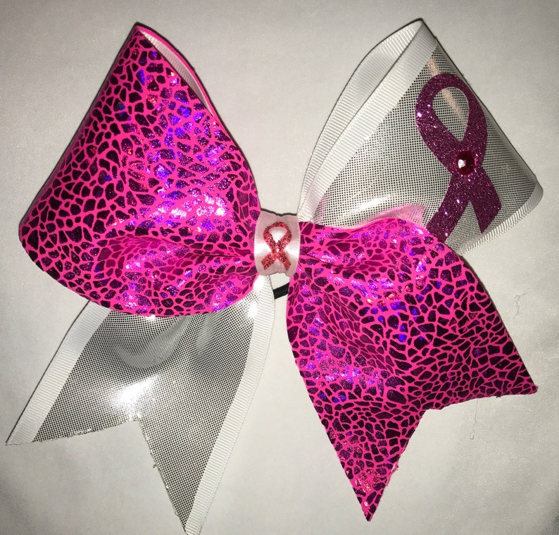 624f86c068ab06 Breast Cancer Cheer Bow Big Sparkly Pink Ribbon and Hot Pink