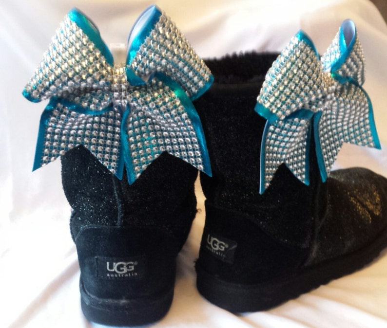 5314a7289a6ec2 Mini Sparkly Ugg Boot Cheer Bow Clips Bow Set Clip on