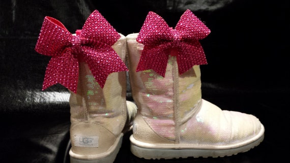 cb402b53dc5e17 Sparkly Bling Mini Cheer Bow Ugg   Shoe Clips Set of 2 Bows