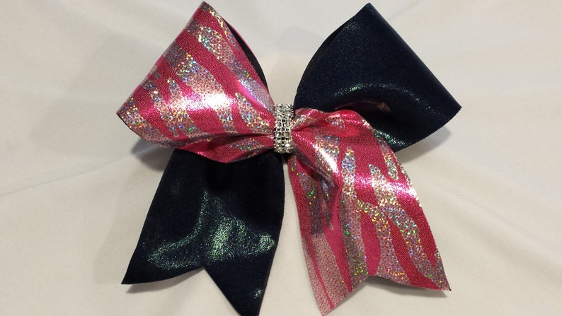 494294b7061a69 Big Luxury Cheer Bow. 3 Texas Size in Sparkly Pink Zebra