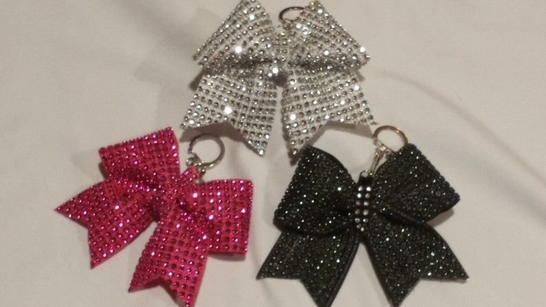 d4d022cc832ca5 Sparkly Cheer Bow Keychains Solid Bling Ribbon on 2