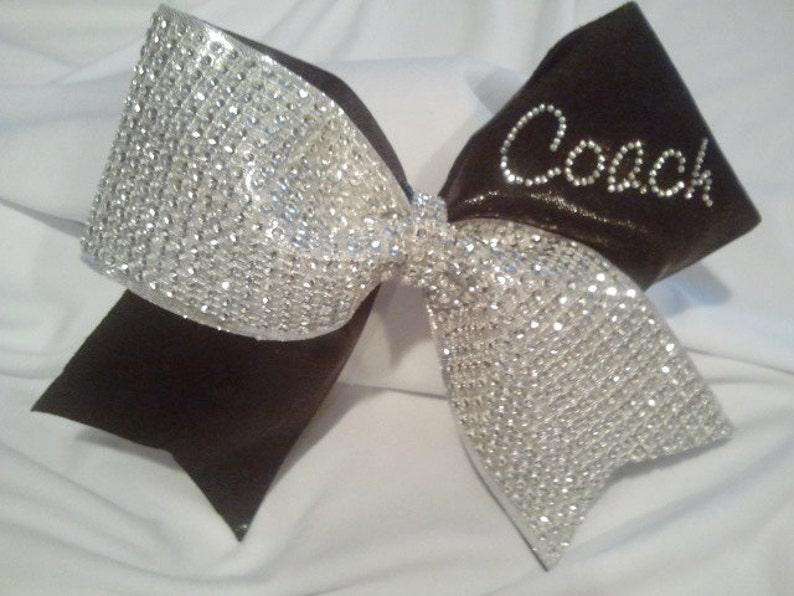 611d630f704915 Cheer Coach Bow Big Luxury Bling Bow with Personalized