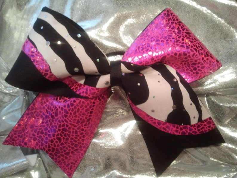 0b25f0d2fbb9a2 Big Luxury Cheer Bow 3 Texas Size Pink Shattered Glass