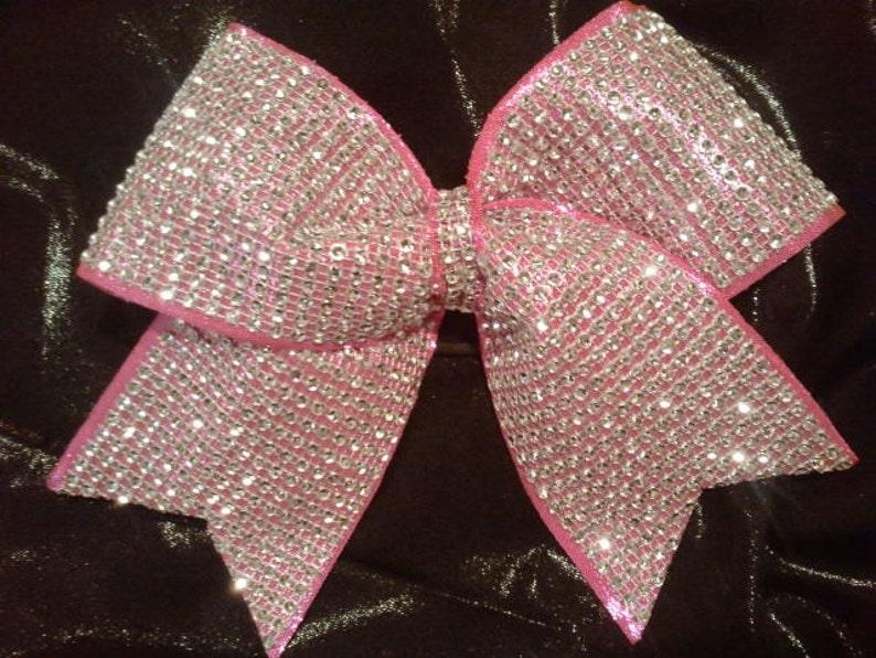 ed8eb33ea5a748 Big Hot Pink Bling Luxury Cheer Bow Rhinestone on