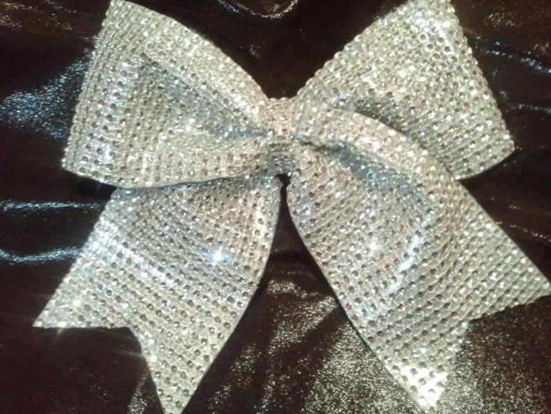 b343859a7ab33d Bling Cheer Bow Silver 3 Texas Size Sparkly
