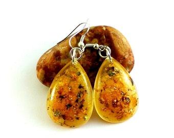 Gold wedding earrings drops Yellow wedding jewelry Gold earrings Bridal earrings Yellow drop earrings Sunflower yellow earrings gold flakes