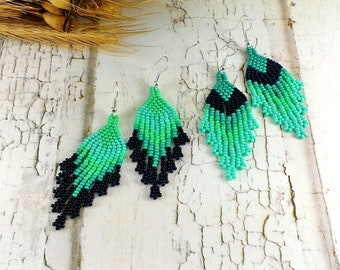 Turquoise earrings Beaded earrings Turquoise jewelry Blue earrings Beaded jewelry Fringe earrings Boho earrings Dangle earrings Long earring