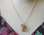 Glass vial necklace terrarium jewelry tiny bottle necklace perfume bottle necklace silver leaf necklace fairy necklace fantasy necklace