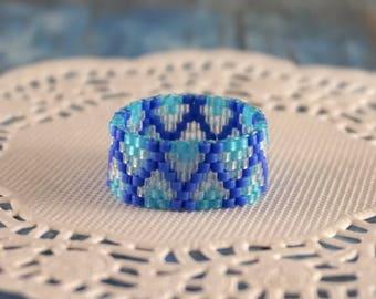Beaded ring Midi ring Something blue jewelry Ocean jewelry Ocean blue ring Boho ring Wave jewelry Dainty ring for women Bohemian ring