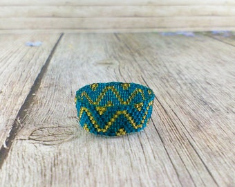 Blue zircon ring Gold ring Statement rings Midi ring Teal blue green jewelry Teal green Matte gold Teal and gold Blue gold gift for her