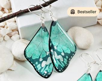 Turquoise Butterfly Earrings, Gift For Her Statement Earrings Dangle, Bohemian Earrings Wedding Bridal Modern Jewelry Butterfly Wing Earring
