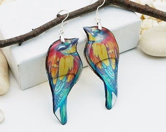 Colorful Bird Earrings Bee-Eater Christmas Gift Statement Turquoise Dainty Nature Animal Best Friend Cute Funky Aesthetic Trendy Jewelry