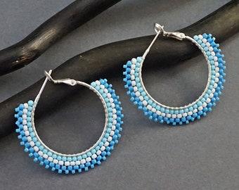 Blue Hoop Earrings / Silver Hoop Earrings / Boho Bohemian Blue Hoops / Seed Bead Hoops / Beaded Hoop Earrings / Blue Circle Earrings Hoops