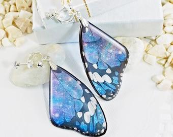 Celestial Jewelry Butterfly Earrings, Blue Galaxy Earrings, Space Cosmic Nebula Constellation Bohemian Earrings, Gift For Women Star Jewelry