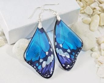 Classic Blue Butterfly Earrings Silver Boho Bohemian Earrings Butterfly Wing Anniversary Gift For Women Avant Garde Earrings Gift For Her