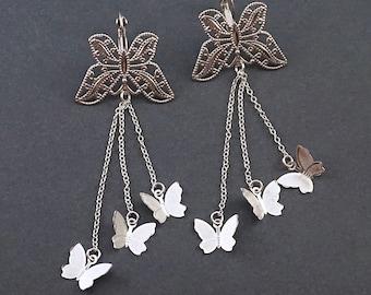 Silver Butterfly Earrings, Filigree Bohemian Earrings, Long Dangle Earrings, Silver Boho Earrings, Dangling Earrings, Fluttering Butterflies