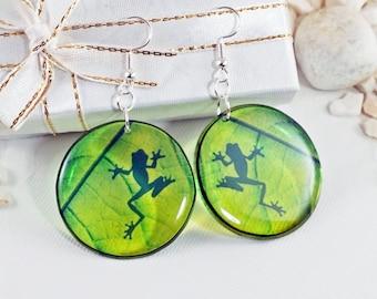 Frog Earrings, Shadow On Leaf Nature Lover Cute Animal Resin Dangle Earrings, Lesbian Earrings, Frog Jewelry, Fun Statement Hoop Earrings